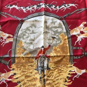 Hermès silk scarf Foxhunt horses equine